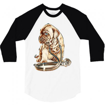 Puppy With Stethoscope On His Neck Looking Away. Isolated On White Bac 3/4 Sleeve Shirt Designed By Kemnabi
