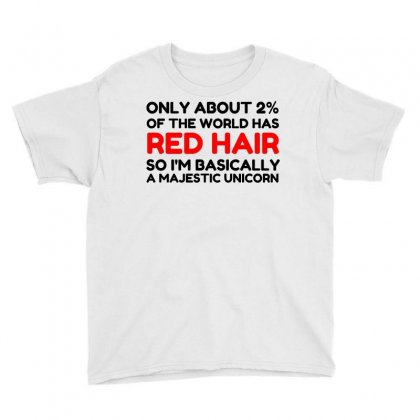 Red Hair Majestic Unicorn Youth Tee Designed By Perfect Designers