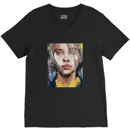Billie Lover Eilish V-neck Tee Designed By Balqis Tees
