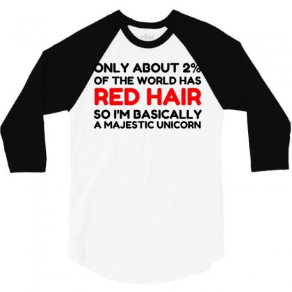 Red Hair Majestic Unicorn 3/4 Sleeve Shirt Designed By Perfect Designers