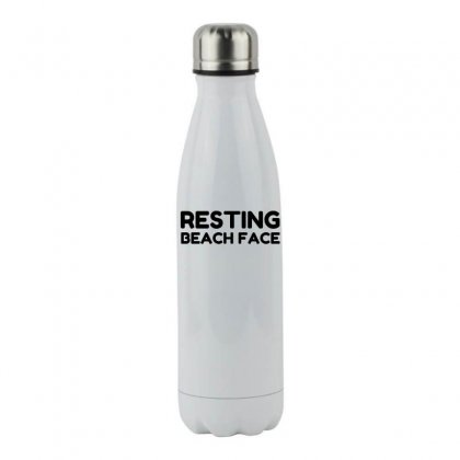 Resting Beach Face Stainless Steel Water Bottle Designed By Perfect Designers