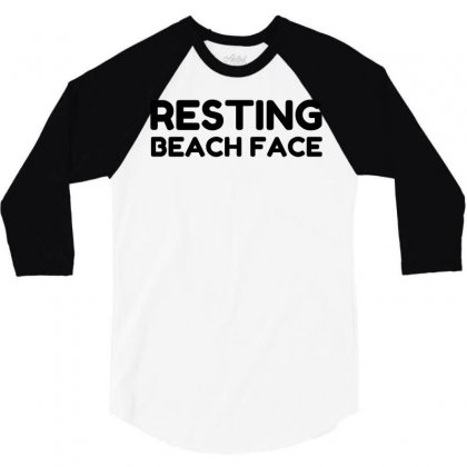 Resting Beach Face 3/4 Sleeve Shirt Designed By Perfect Designers