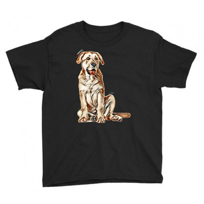 Brown Mastiff Dog Sitting On Its Paws Youth Tee Designed By Kemnabi