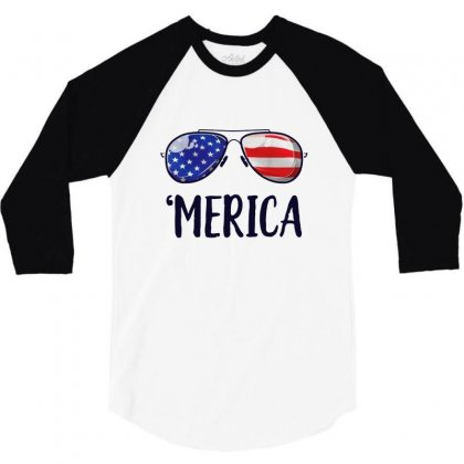 4th Of July Merica Sunglasses 3/4 Sleeve Shirt Designed By Balqis Tees
