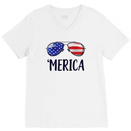 4th Of July Merica Sunglasses V-neck Tee Designed By Balqis Tees