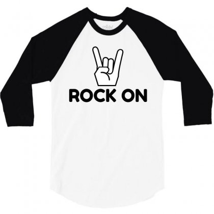 Rock On Sign 3/4 Sleeve Shirt Designed By Perfect Designers