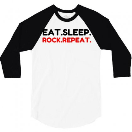Rock Repeat 3/4 Sleeve Shirt Designed By Perfect Designers