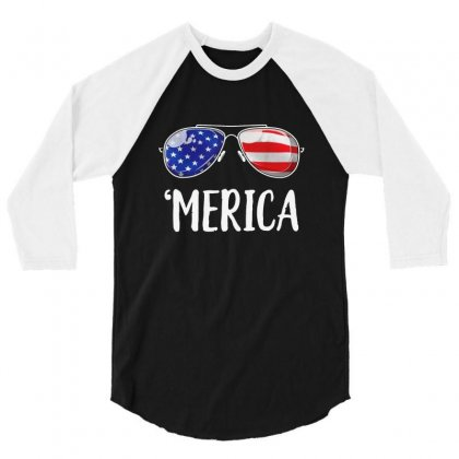 Merica Sunglasses 4th Of July 3/4 Sleeve Shirt Designed By Balqis Tees