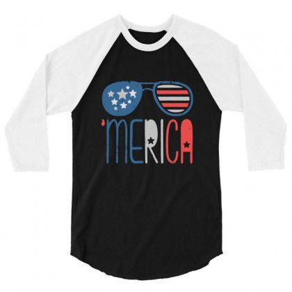 Merica American Flag Aviators 3/4 Sleeve Shirt Designed By Balqis Tees