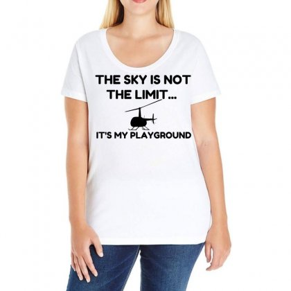 Sky Playground Helicopter Ladies Curvy T-shirt Designed By Perfect Designers