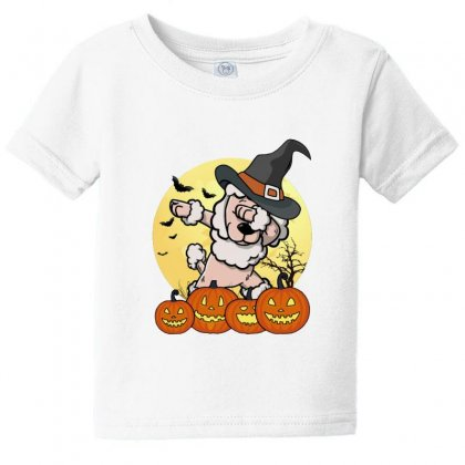Poodle Dabbing In Halloween Baby Tee Designed By Lotus Fashion Realm