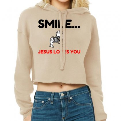 Smile Jesus Loves You Cropped Hoodie Designed By Perfect Designers