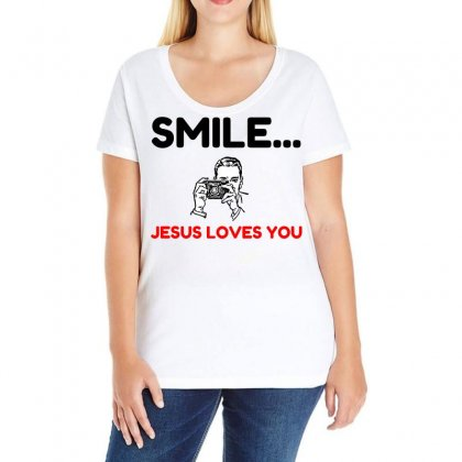 Smile Jesus Loves You Ladies Curvy T-shirt Designed By Perfect Designers