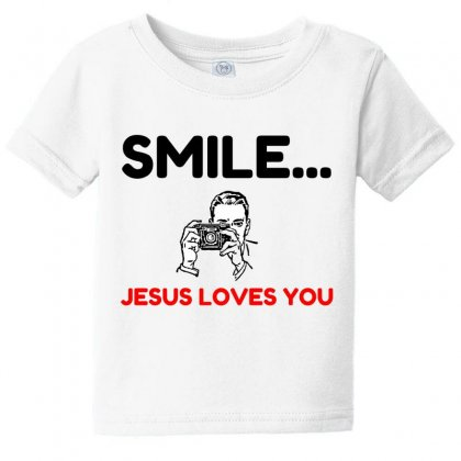 Smile Jesus Loves You Baby Tee Designed By Perfect Designers