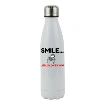 Smile Jesus Loves You Stainless Steel Water Bottle Designed By Perfect Designers