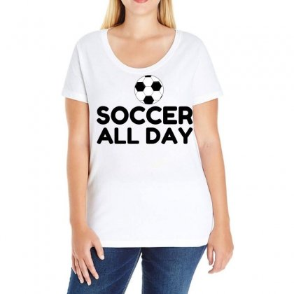 Soccer All Day Ladies Curvy T-shirt Designed By Perfect Designers