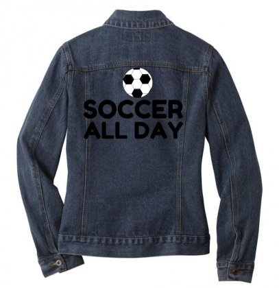 Soccer All Day Ladies Denim Jacket Designed By Perfect Designers