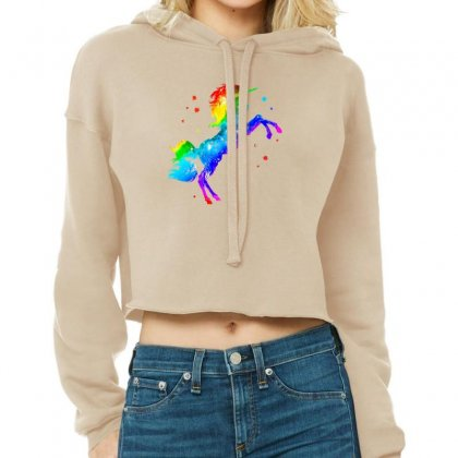 Rainbow Unicorn Cropped Hoodie Designed By Lotus Fashion Realm