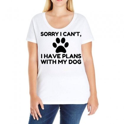 Sorry I Have Plans With My Dog Funny Ladies Curvy T-shirt Designed By Perfect Designers