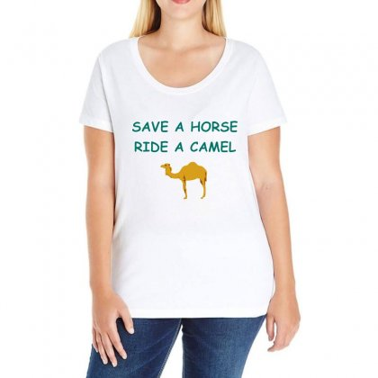 Save A Horse Ride A Camel Ladies Curvy T-shirt Designed By Lotus Fashion Realm