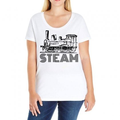 Steam Train Ladies Curvy T-shirt Designed By Perfect Designers