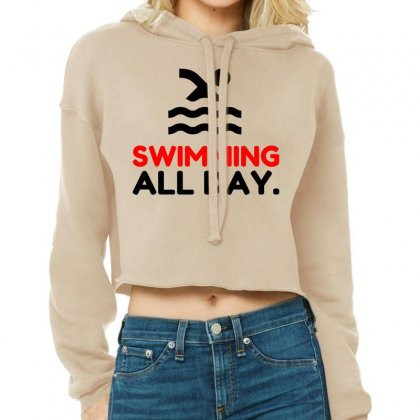Swimming All Day Cropped Hoodie Designed By Perfect Designers