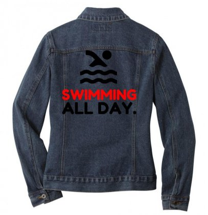 Swimming All Day Ladies Denim Jacket Designed By Perfect Designers