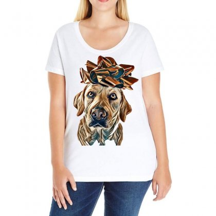 Dog Present. Labrador  With A Big Red Bow On Head. Puppy Or Pet Gift F Ladies Curvy T-shirt Designed By Kemnabi