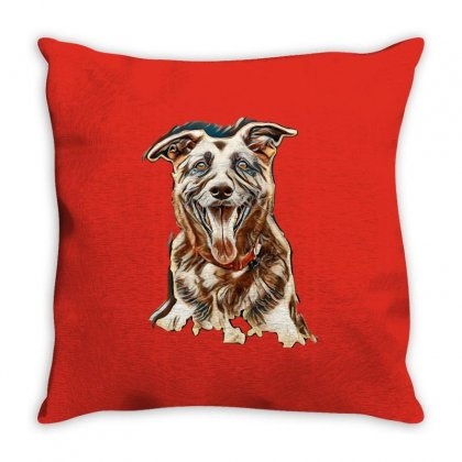 Very Old Alsatian Portrait Looking At The Camera With Mouth Open And T Throw Pillow Designed By Kemnabi