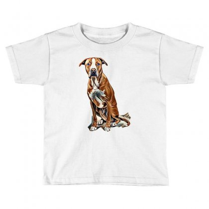 Fawn And White Pit Bull Labrador Retriever Mix Dog On Light Background Toddler T-shirt Designed By Kemnabi