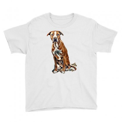 Fawn And White Pit Bull Labrador Retriever Mix Dog On Light Background Youth Tee Designed By Kemnabi