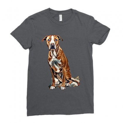 Fawn And White Pit Bull Labrador Retriever Mix Dog On Light Background Ladies Fitted T-shirt Designed By Kemnabi
