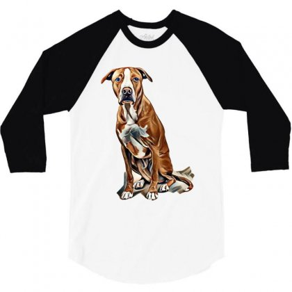 Fawn And White Pit Bull Labrador Retriever Mix Dog On Light Background 3/4 Sleeve Shirt Designed By Kemnabi