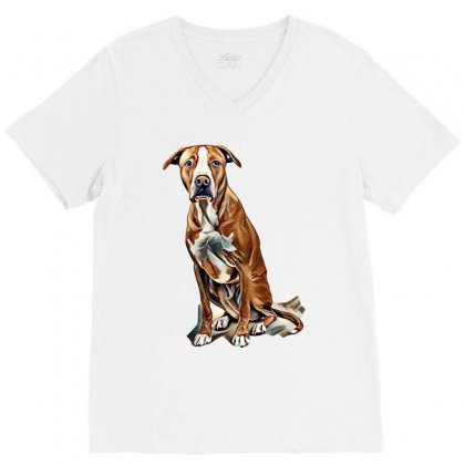 Fawn And White Pit Bull Labrador Retriever Mix Dog On Light Background V-neck Tee Designed By Kemnabi