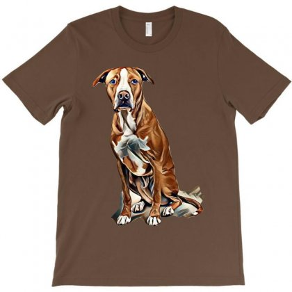 Fawn And White Pit Bull Labrador Retriever Mix Dog On Light Background T-shirt Designed By Kemnabi