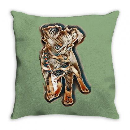Puppy Russkiy Toy In Front Of White Background Throw Pillow Designed By Kemnabi