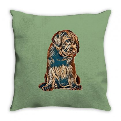 Chocolate Labrador Retriever Puppy On White Background Throw Pillow Designed By Kemnabi