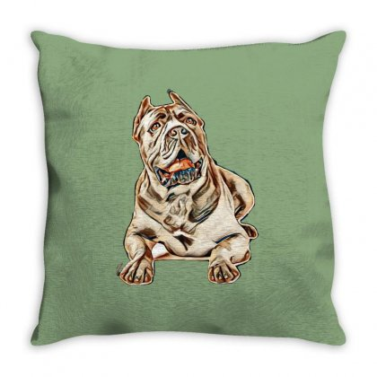 Cane Corso Dog On White Background Throw Pillow Designed By Kemnabi