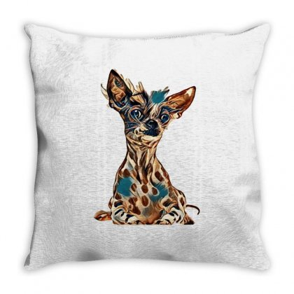 Peruvian Hairless And Chihuahua Mix Dog On White Throw Pillow Designed By Kemnabi