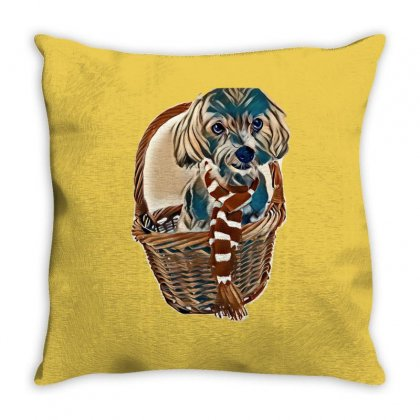 Cute Maltese Dog In Red Basket Wearing Red And White Scarf Isolated On Throw Pillow Designed By Kemnabi