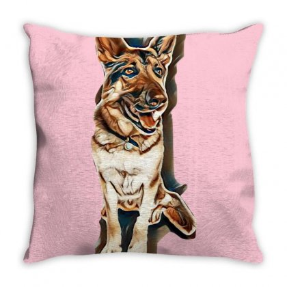 German Shepherd Dog Sitting Isolated On White Background Throw Pillow Designed By Kemnabi