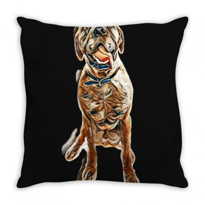 Brindle English Mastiff Male Sitting On White Background Throw Pillow Designed By Kemnabi