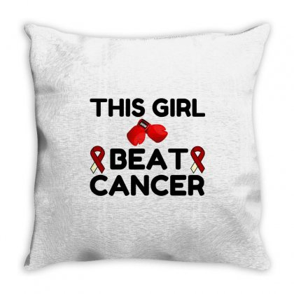 This Girl Beat Cancer Throw Pillow Designed By Perfect Designers