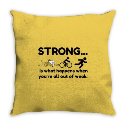 Triathlon Strong Throw Pillow Designed By Perfect Designers