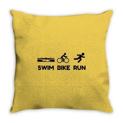 Triathlon Swim Bike Run Throw Pillow Designed By Perfect Designers
