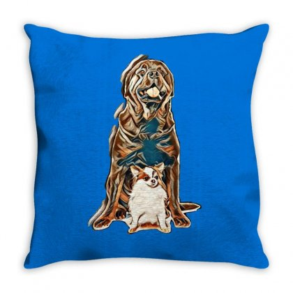 Adult Male Rottweiler In Front Of White Background Throw Pillow Designed By Kemnabi
