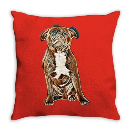 Staffordshire Bull Terrier And Chihuahua In Front Of White Background Throw Pillow Designed By Kemnabi