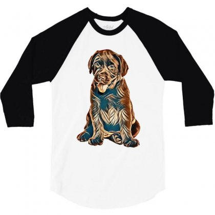 Chocolate Labrador Retriever Puppy On White Background 3/4 Sleeve Shirt Designed By Kemnabi