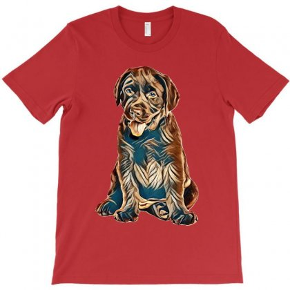 Chocolate Labrador Retriever Puppy On White Background T-shirt Designed By Kemnabi