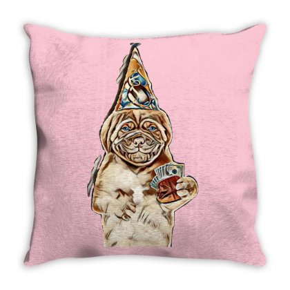 Happy Puppy In Party Hat With Retro Wallet. Isolated On White Backgrou Throw Pillow Designed By Kemnabi